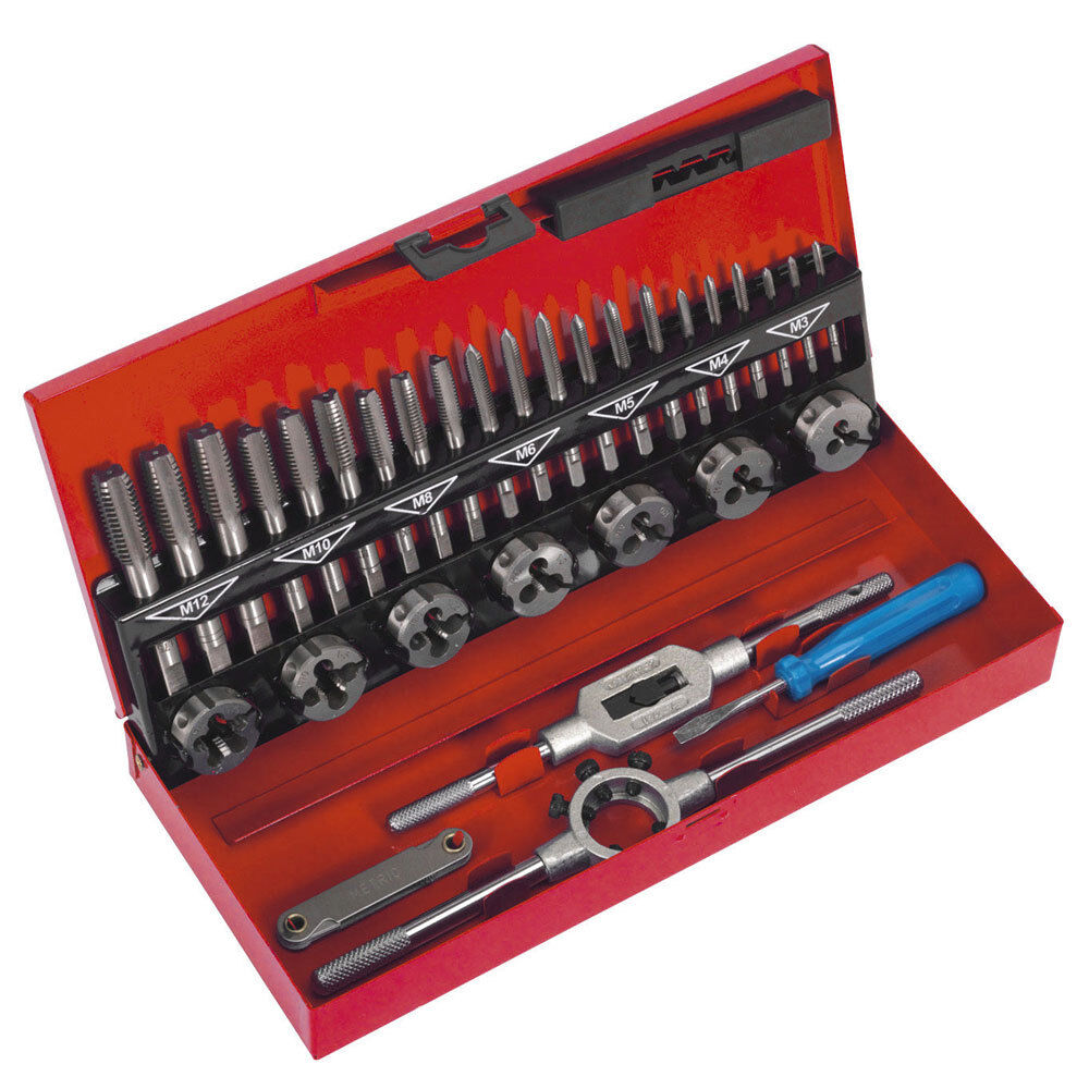 Professional 7Pc Metric M3-M12 Tap Die Set Kit With Split Dies Wrench /& Steel