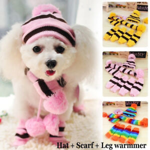 6Pcs-Set-Pet-Warm-Hat-Scarf-Dog-Cat-Socks-Stripe-Knitted-Puppy-Costume-Clothes