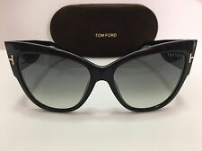 New Authentic TOM FORD ANOUSHKA TF371F 01B Shiny Black/Gray Gradient Sunglasses