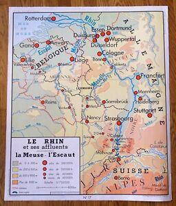 carte-d-039-ecole-affiche-scolaire-1960-Rossignol-cote-de-la-manche-le-rhin