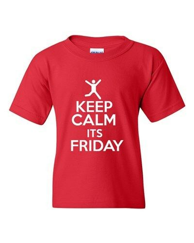Keep Calm It/'s Friday Rest Relax Novelty Statement Youth Kids T-Shirt Tee