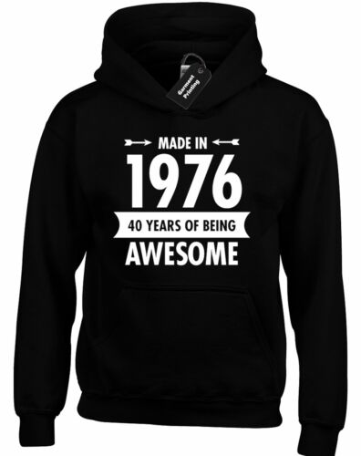 MADE IN 1976 HOODY HOODIE FUNNY 40TH BIRTHDAY PRESENT GIFT IDEA TOP JOKE COMEDY