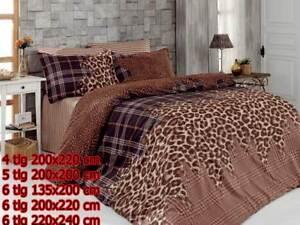 Bettwaesche-Bettgarnitur-Bettbezug-100-Baumwolle-Kissen-Decke-LEOPARD-BRAUN
