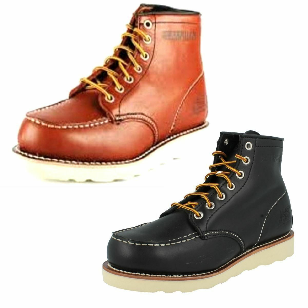 MENS CATERPILLAR HILLSIDE BLACK LACE UP LEATHER SMART CASUAL WINTER BOOTS SHOES