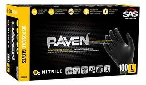 XL 10-box case SAS Safety 66519 Raven Powder-Free Black Nitrile 6 Mil Gloves