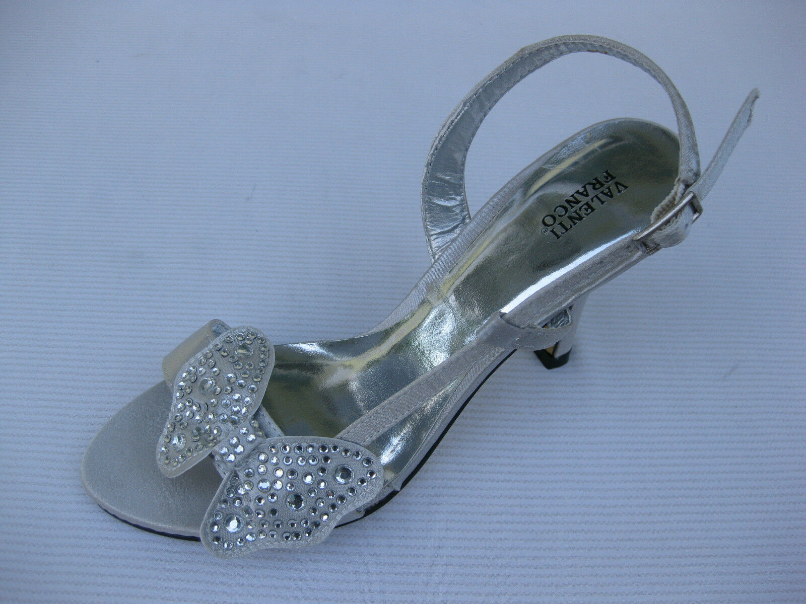 Valenti Franco Womens Shoes Satin $59 Adora Butterfly Silver Satin Shoes Sandal 6 M 42bc49