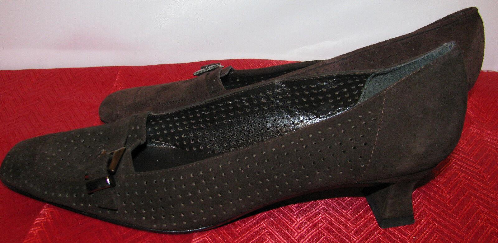 Adorable Stuart Weitzman Gamuza Marrón Cuero Zapatos Zapatos Zapatos Talla 7.5M - Usado En Excelente Estado  colores increíbles