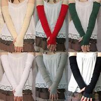 Fashion Damen Baumwolle UV-Schutz Armstulpen Lang fingerlose Handschuhe Neu