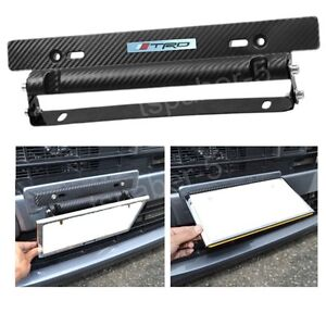 Image is loading Black-Carbon-Fiber-Adjustable-Car-Racing-License-Plate-  sc 1 st  eBay & Black Carbon Fiber Adjustable Car Racing License Plate Frame Holder ...