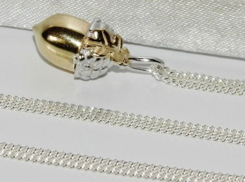 Necklace Choice of Chain Sterling Silver /& 9ct Gold Acorn /& Leaf Pendant