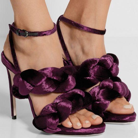WOuomo Woven Velet Elegant Prom Roma Strappy Ankel Strap Sandals Stiletto heels
