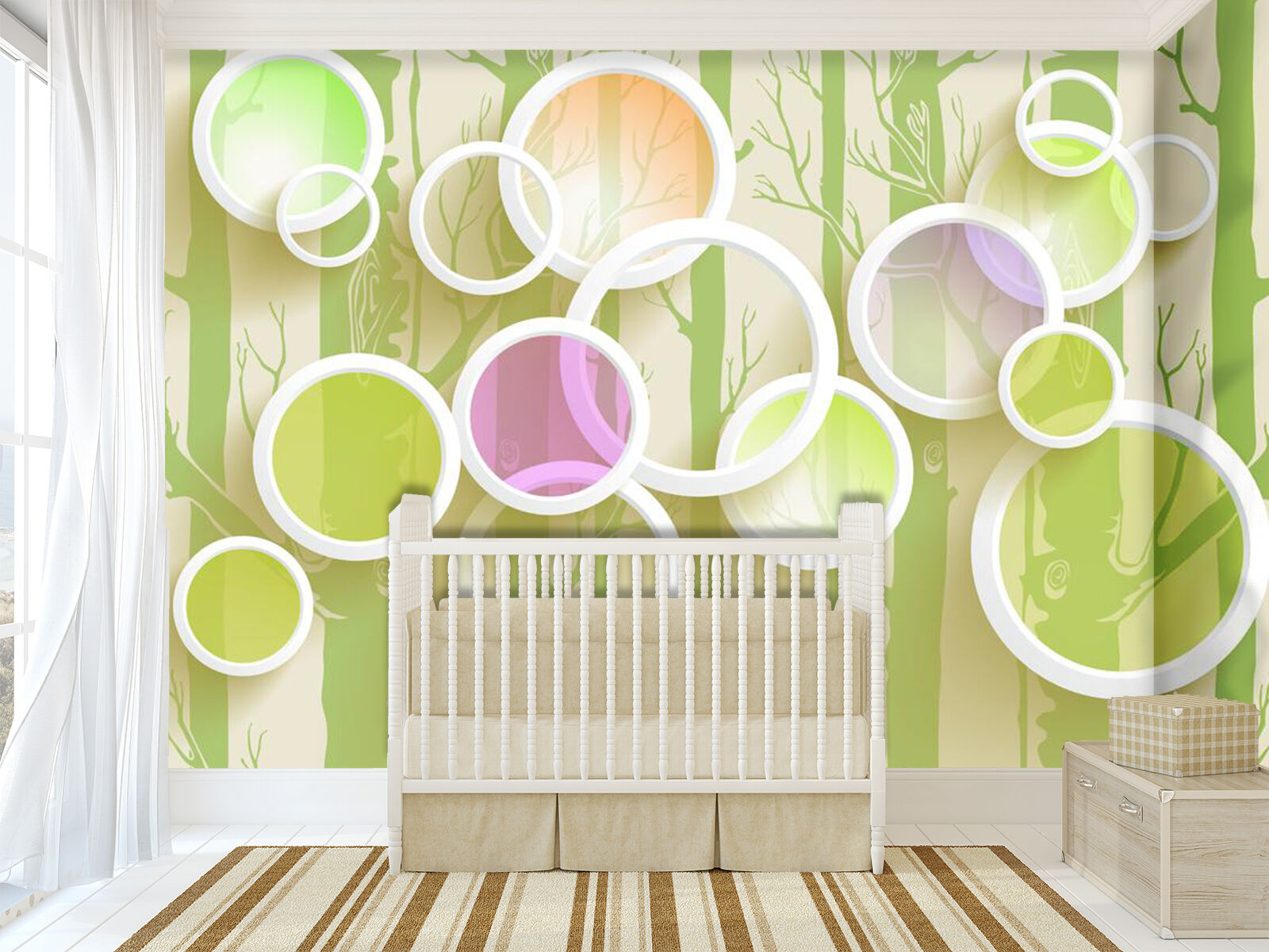 3D Farbeful tree painting Wall Paper Print Decal Wall Deco Indoor wall Mural
