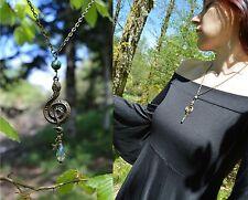 Bronze green crystal snake pendant serpent necklace dark mori strega goth witch