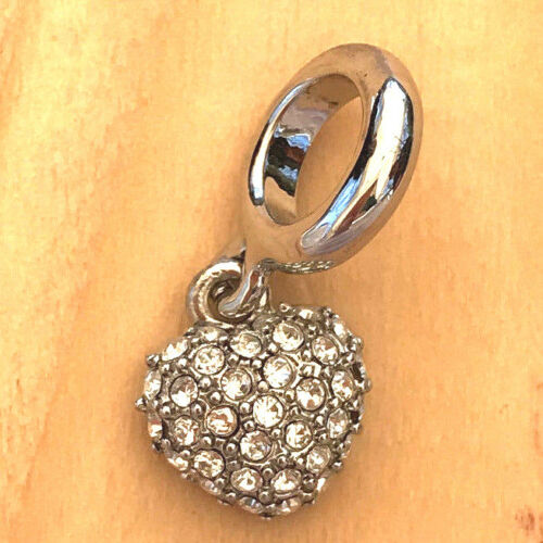 *^Silver Heart With Clear Sets Dangle Charm For Endless Story Bracelet