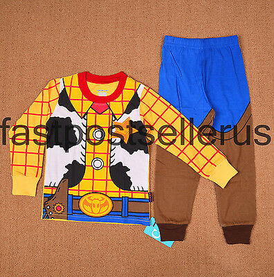 Yrs1-6 Toy Story Woody Boys Toddler Pajamas Kids PJ Sleepwear Costume Gift Set