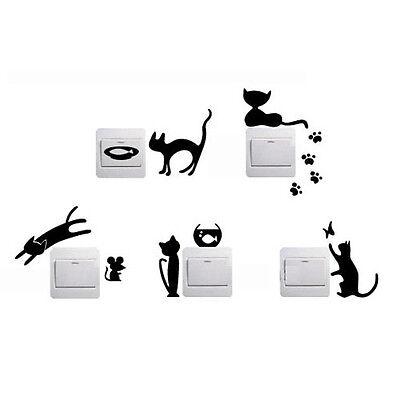 5pcs/Set Black Cute Switch Sticker Cat Pattern Bedroom Wall Sticker Home Decor