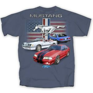 Ford-Mustang-Three-Fox-Body-with-Flag-INDIGO-Adult-T-Shirt