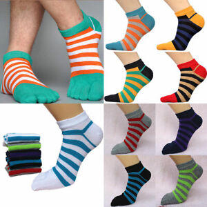 Fashion-Men-039-s-Cotton-Five-Finger-Toe-Sock-Striped-Casual-Summer-Ankle-Boat-Socks
