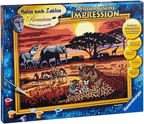 """Ravensburger 28819 9 """"African Impression Paint by Numbers Kit"""