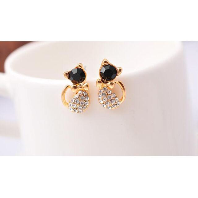 1 Pair Cute Fashion Women Lady Elegant Crystal Rhinestone Ear Stud Earrings