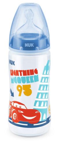 4x NUK First Choice Plus Cars Babyflasche je 300ml 6-18m mittelfein gelocht blau
