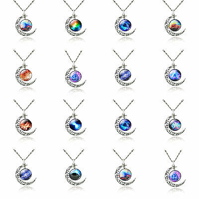 Charm Rainbow Galaxy Star Sky Glass Pendants Silver Plated Moon Chain Necklace