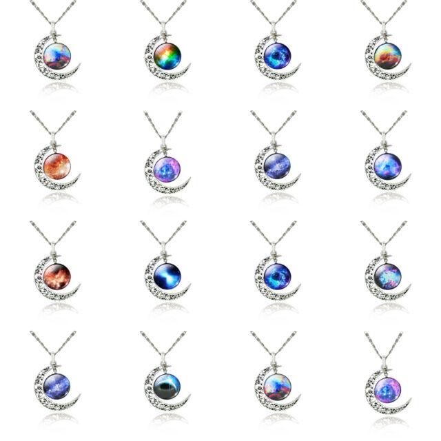 Charm Rainbow Galaxy Star Sky Glass Pendants Silver Plated Moon Chain Necklace
