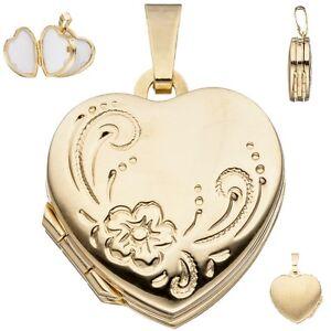 medaillon-c-ur-pour-4-photos-333-Or-Jaune-Pendentif-en-forme-de-Coeur-amulette