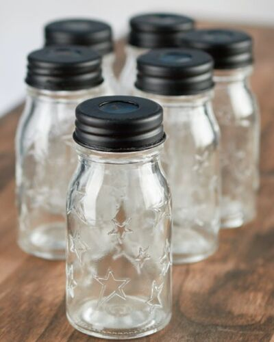 6 Blue or Green Mini Glass Mason Jar Light Covers for String Lights Clear