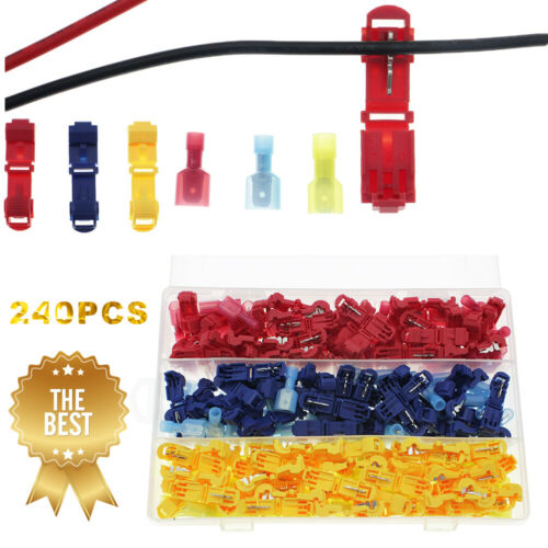 240pc Insulated 22-10 AWG T-Taps Quick Splice Wire Terminal Connectors Combo Kit