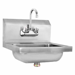 Stainless Steel Hand Wash Sink Washing Wall Mount Commercial Kitchen Heavy  Duty