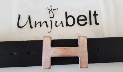 UMJUBELT H-Level matt perlmutt kupfer Gürtelschnalle Gürtelschließe 7x5cm NEU!!