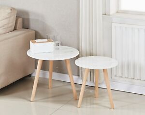 Set Of White Marble Look Round Coffee Side Table Nightstand Wooden