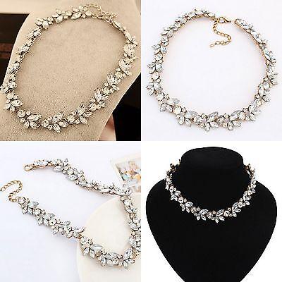 Crystal Gold/Silver Choker Necklace Charm Flower Pendant Statement Bib Chunky