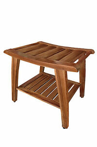 Grade A Teak Wood Shower Bench Stool W Shelf Spa Bath Outdoor Garden Patio New Ebay