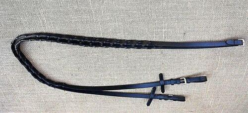 Zügel Lederzügel geflochten sehr  weich für Trensen und Kandaren schwarz 2,95 m