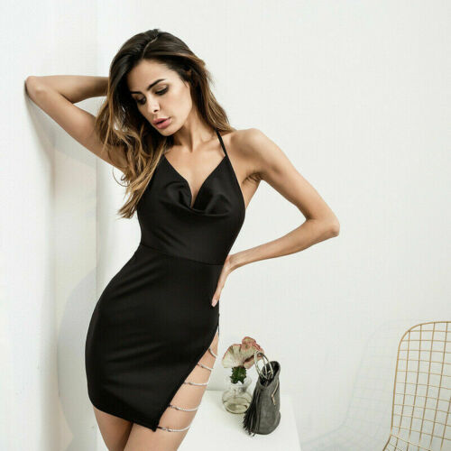 Women/'s Backless Short Bodycon Sleeveless Evening Party Cocktail Club Mini Dress