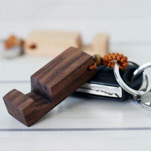 New-retro-wood-phone-holder-stand-pendant-keychain-car-keyring-accessory-wlVBNS