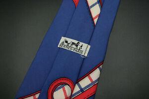 Vintage-Hermes-Paris-Made-In-France-Blue-Scarf-Print-Silk-Tie