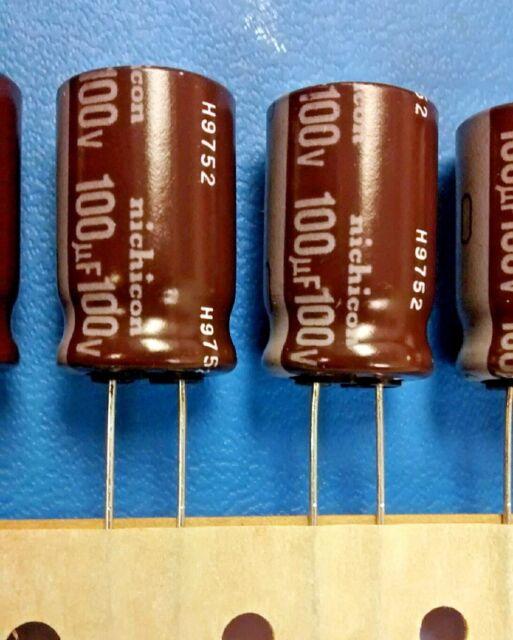 25 PCs NICHICON Capacitor 100V 100UF 12.5x12.5 105C,20/% 2000 HR URY2A101MHD