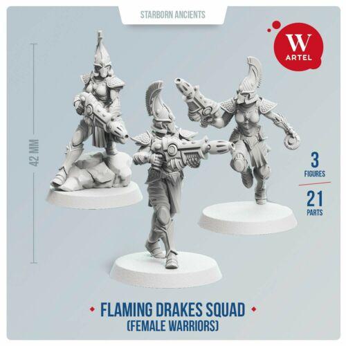 female Flaming Drakes Aeldari//Eldar Fire Dragons Aspect Warriors by Artel W