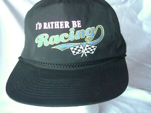 Sports Mem, Cards & Fan Shop Reasonable Vintage I'd Rather Be Racing Ball Cap Hat Black W Snapback