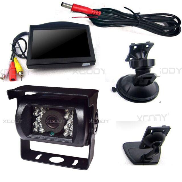 Car Rear View Kit Reverse Backup Parking Camera 120°+ 5''LCD Monitor Truck Bus