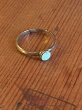 Vintage Navajo 925 sterling silver inlaid turquoise petite ring size 5.5, 1g