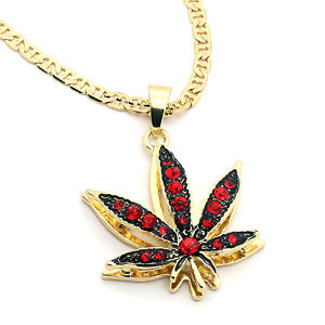 14k gold plated marijuana red cz stone pendant 24 gucci chain image is loading 14k gold plated marijuana red cz stone pendant aloadofball Choice Image