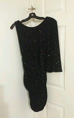 Jay Ahr Black Glitter Sparkly Shoulder Drape Ruched Dress sz M