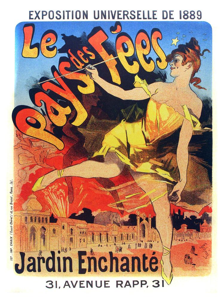 Jardin Enchante, Le Pays de fees vintage POSTER.Graphic Design.Art Decor.3210