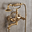 Swivel Antique Brass Carved Bathtub Mixer Phone Style Faucet Hand Shower Taps