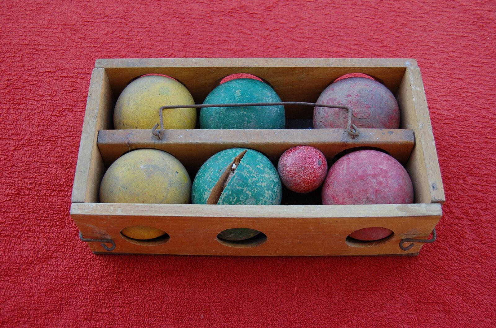 Juego de bolas de madera antiguo - six bolas de madera teñidos
