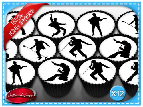 12 Elvis Presley Edible Icing Image Cupcake Topper Birthday Party Decorations